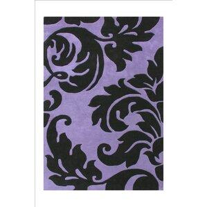 kaliyah flower design hand tufted wool purple area rug