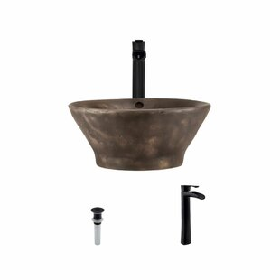 Best Price Bronze Circular Vessel Bathroom Sink With Faucet and Overflow By MR Direct