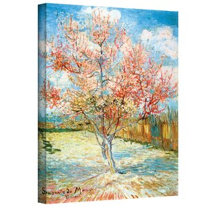 Pink Peach Tree Painting Print on Canvas