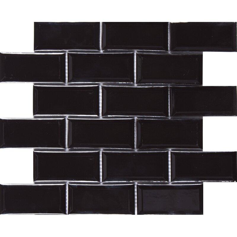 Msi Midnight Beveled 2 X 4 Ceramic Subway Tile In Black Wayfair
