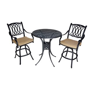 Islais 3 Piece Sunbrella Bar Height Dining Set with Cushions by Darby Home Co