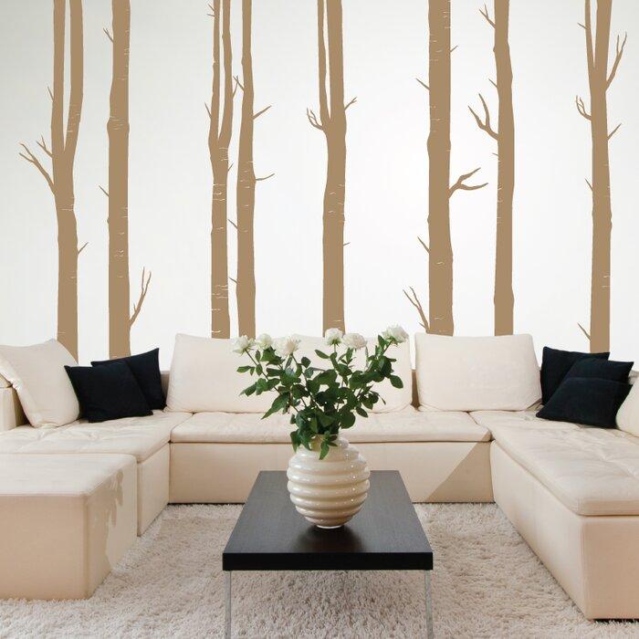 8 Piece Woodland Tree Wall Decal Set