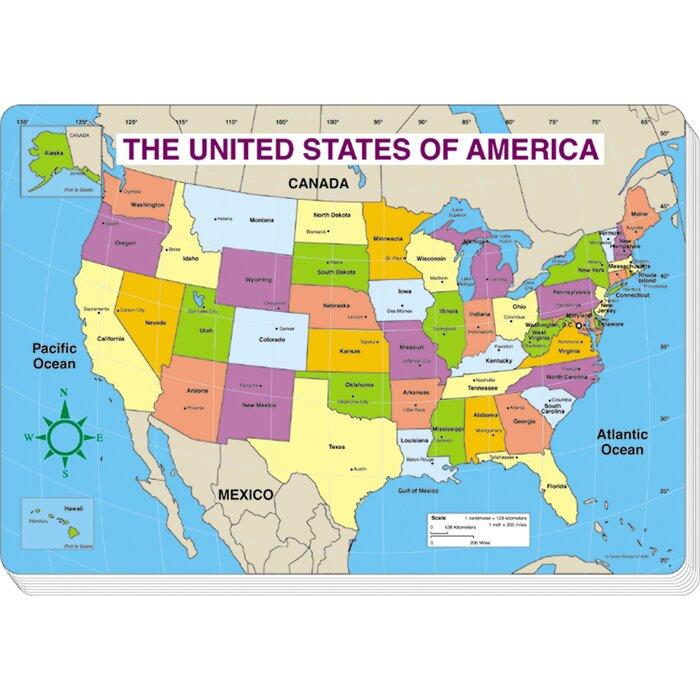 Jumbo Map Pad Us Labeled 30/pk