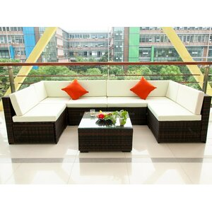 Outdoor Patio PE Rattan 7 Piece Sectional Seating Group with Cushions