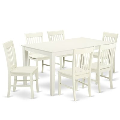 Smyrna 7 Piece Dining Set Charlton Home Color: Linen White