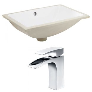 Best Deals Ceramic Rectangular Undermount Bathroom Sink with Faucet and Overflow ByAmerican Imaginations