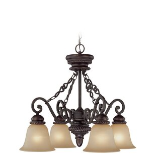 Fleur De Lis Living Chasing 4-Light Shaded Chandelier