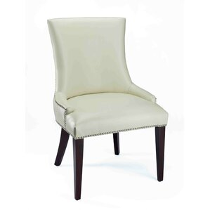 Alpha Centauri Upholstered Side Chair in Leatherette - Cream with Nickel Nailheads by Brayden Studio