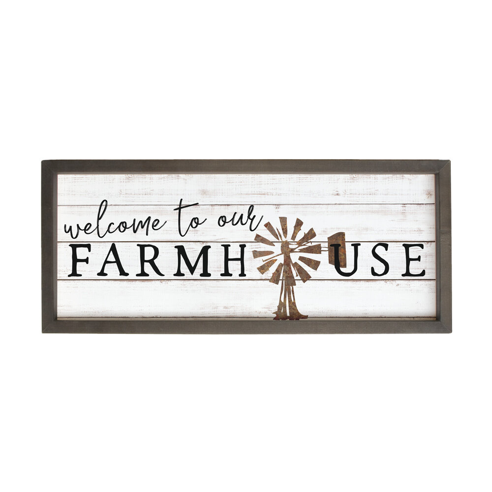 Gracie Oaks Welcome To Our Farmhouse Picture Frame Textual Art Print On Wood Wayfair