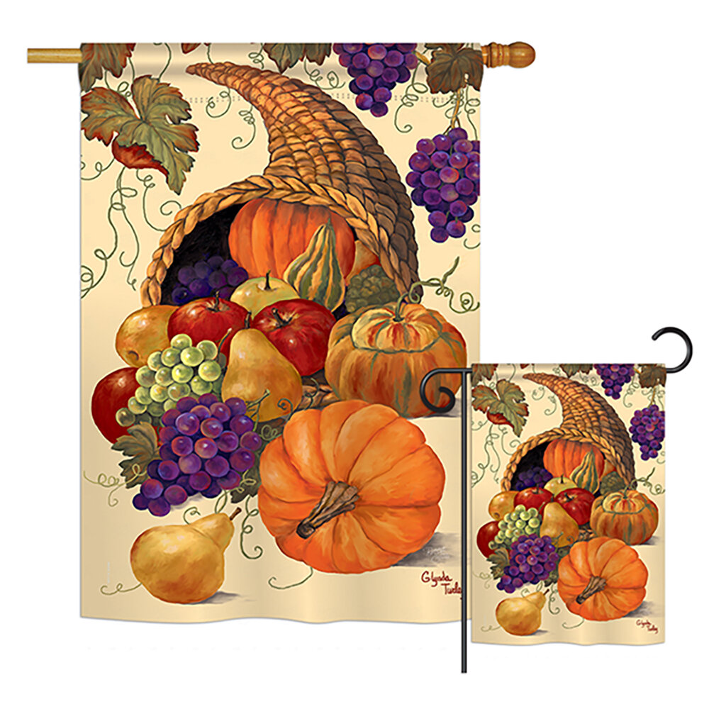 Breeze Decor Cornucopia Fall Harvest And Autumn 2 Sided Polyester 2 Piece Flag Set Wayfair