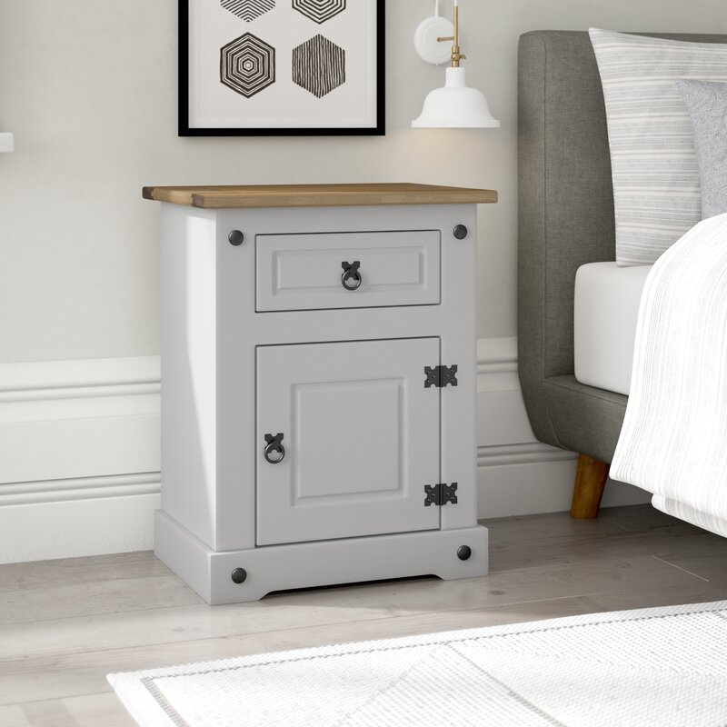 August Grove Corona Lecompte 1 Drawer Bedside Table Reviews