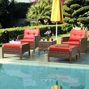 Gilliland 5 Piece Rattan Sofa Seating Group with Cushions