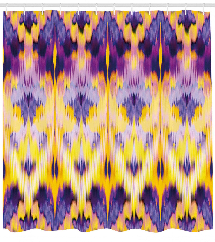 Ambesonne Ikat Shower Curtain Ikat Pattern Dyeing Effect Illustration Resist Of Colours Indonesian Boho Art Print Cloth Fabric Bathroom Decor Set