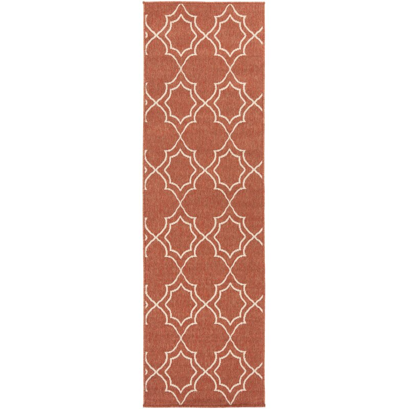 Alcott Hill Amato Power Loomed Rust/Cream Indoor/Outdoor Area Rug, Size: Runner 23 x 119