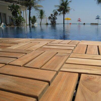 "Ez-floor 12"" X 12"" Wood Interlocking Deck Tile In Natural Baredecor"