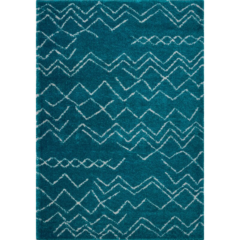 Foundry Select Jacoby Chevron Turquoise Ivory Area Rug Wayfair