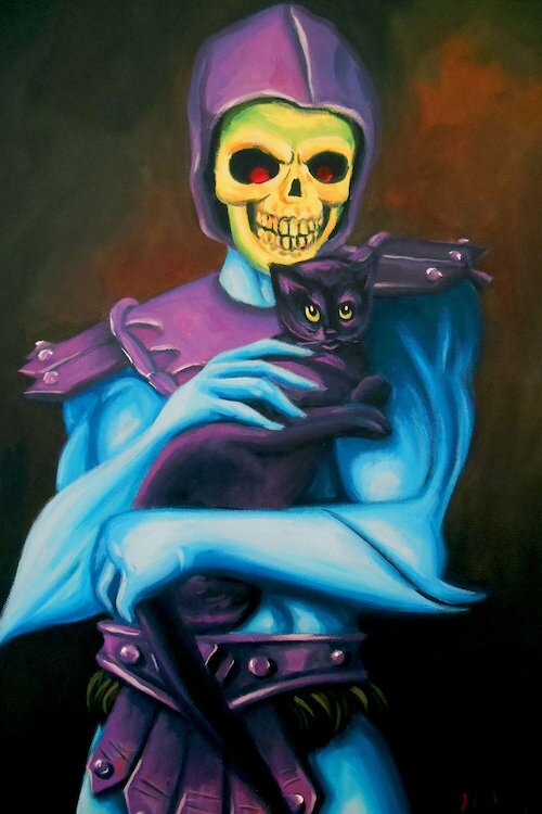 Skeletor holding a cat painting print on wrapped canvas