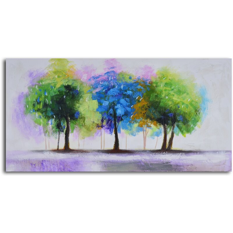 'Blue and Green Copse' Painting - Green Wall Decorations - Nature Decor