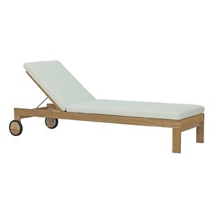 Erler Reclining Teak Chaise Lounge With Cushion