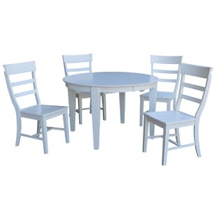 Liev 5 Piece Extendable Solid Wood Dining Set