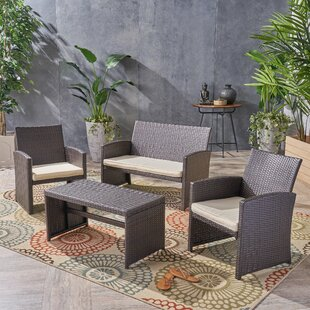 Patterson 4 Piece Rattan Sofa Seating Group with Cushions