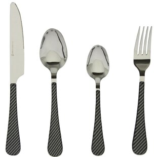 Decesare Stripe 16 Piece Stainless Steel Flatware Set, Service for 4