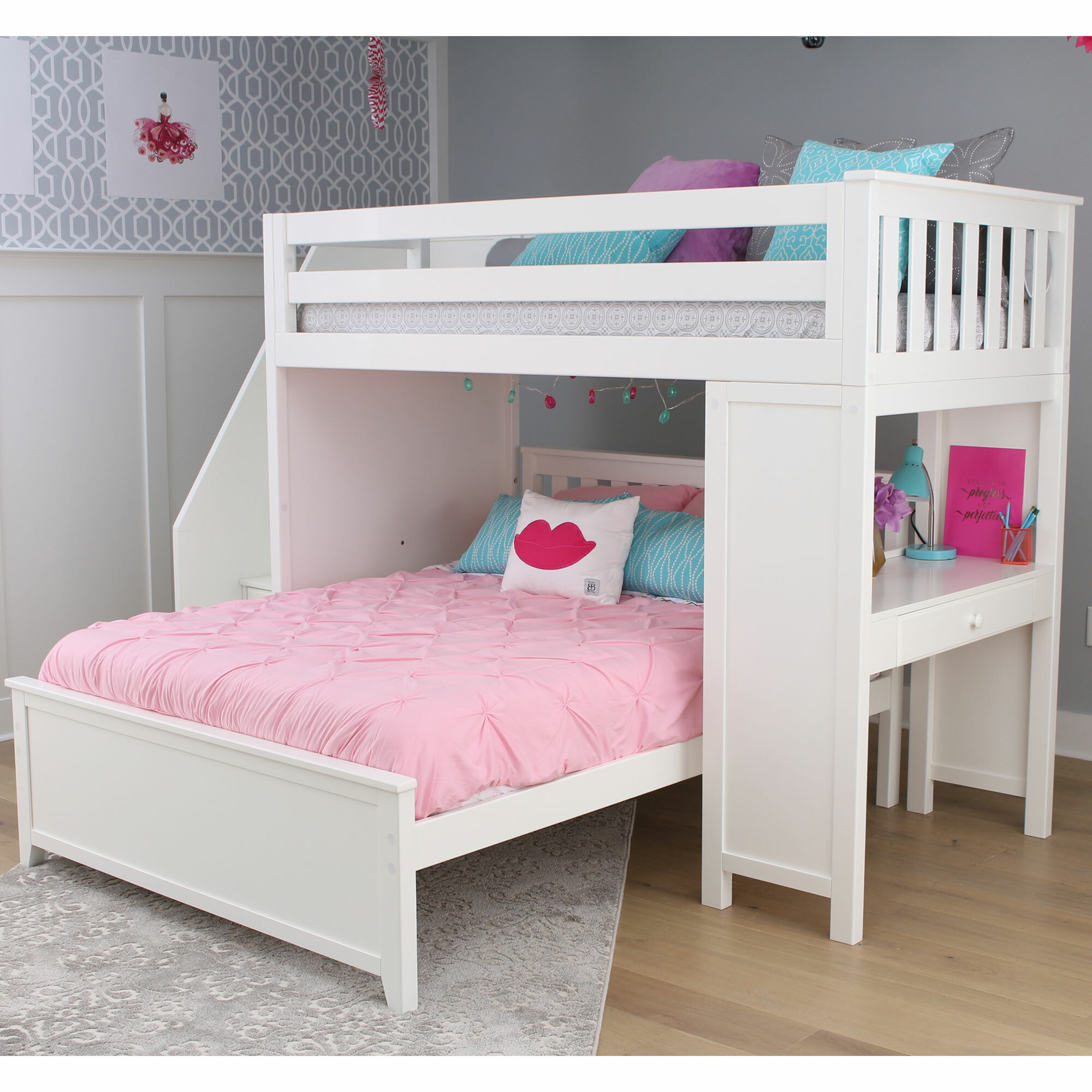 Loft Bed With Storage And Stairs To A Litter Free Bed Room
