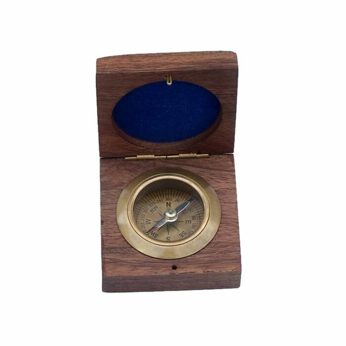 Nautical Solid Brass Round Sundial Compass with Design Rosewood Box
