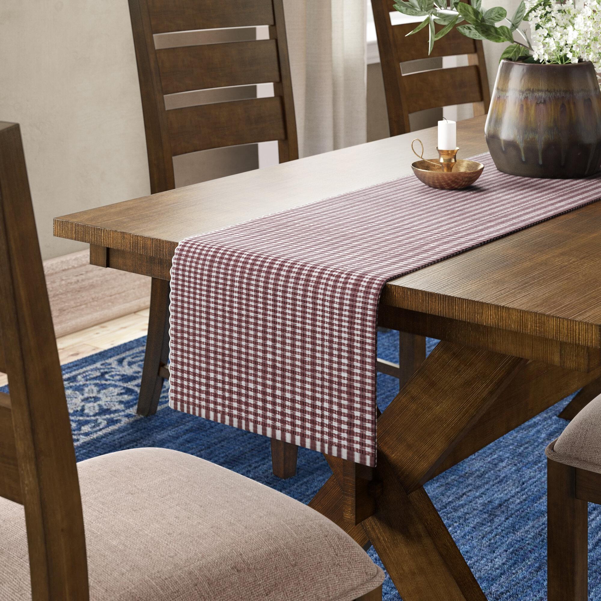 Ceylon Gingham 100 Cotton Table Runner Reviews Birch Lane