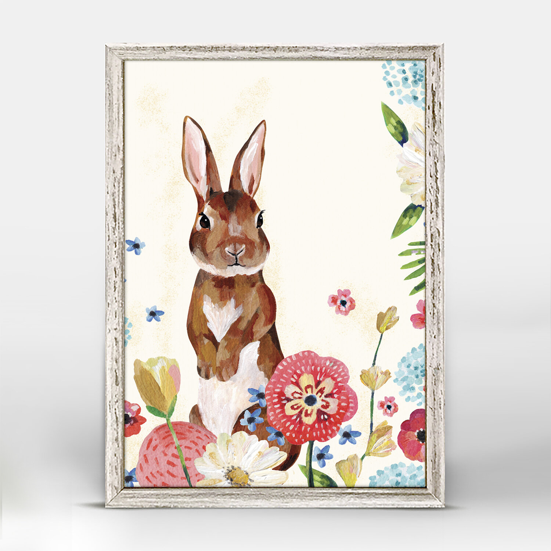 Harriet Bee Ashcroft Garden Rabbit Mini Framed Canvas Art Wayfair