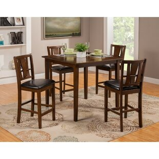 Gaskin Mango Wood 5 Piece Solid Wood Pub Table Set