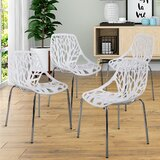 Bansom Queen Anne Back Stacking Side Chair in White by Orren Ellis