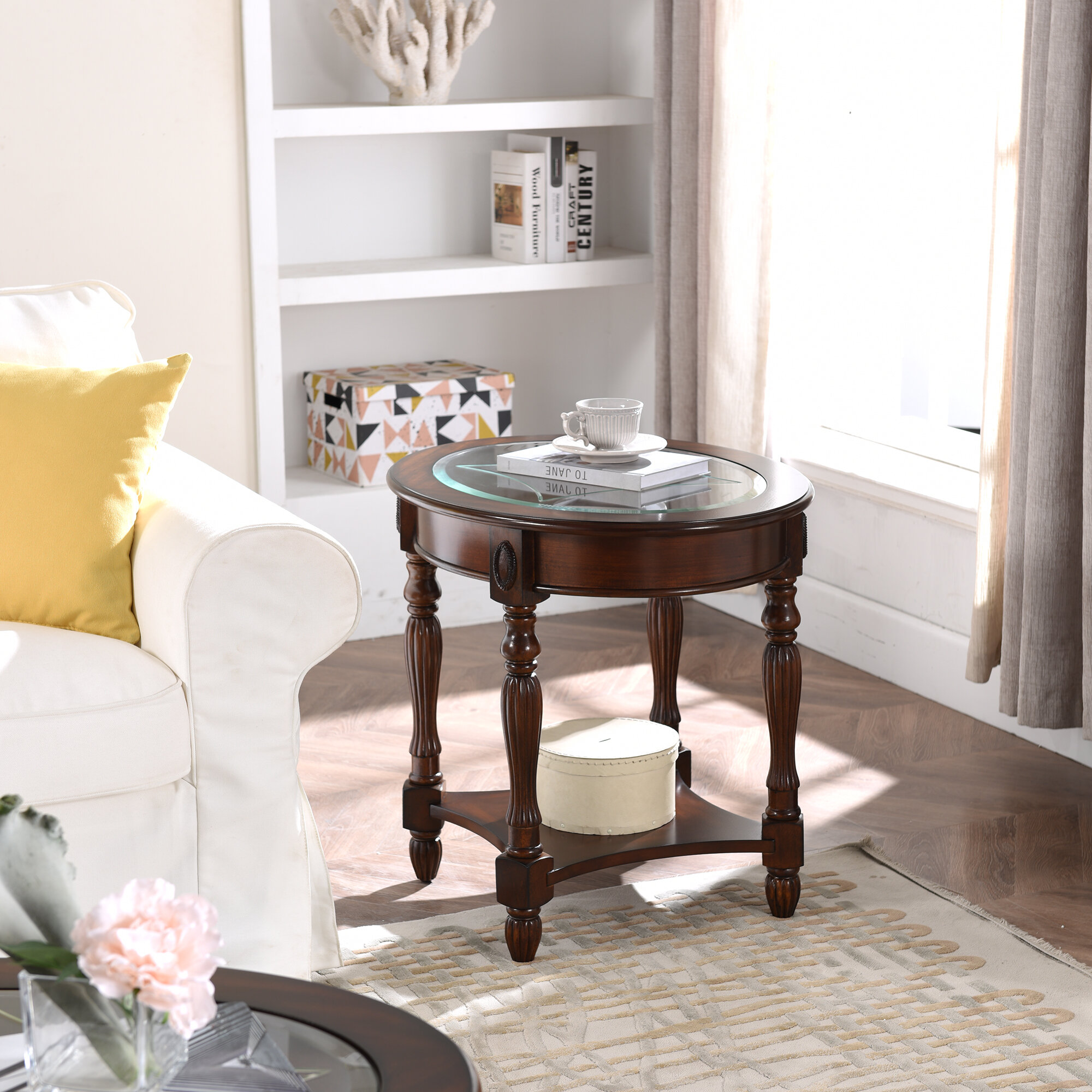 Darby Home Co Toph Glass Top End Table With Storage Wayfair