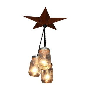 Aida Barn Star Mason Jar 3-Light Cluster Pendant
