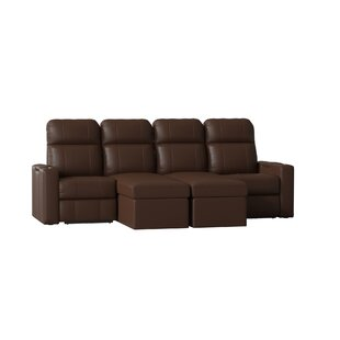 Red Barrel Studio Power Recline Leather Home Theater Sofa (Row of 4)