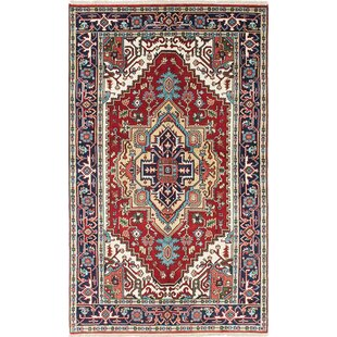 One Of A Kind Lenita Handmade Wool Navy Blue Red Area Rug