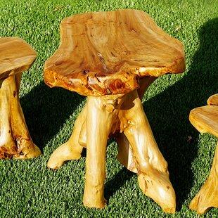 Wood Stump Mushroom Accent Stool