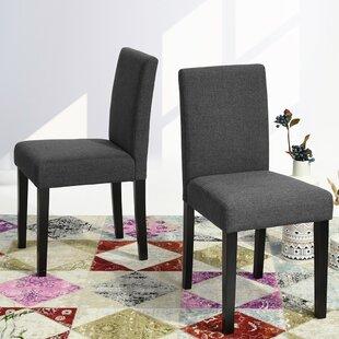 Hemington Upholstered Parsons Chair in Gray Set of 2