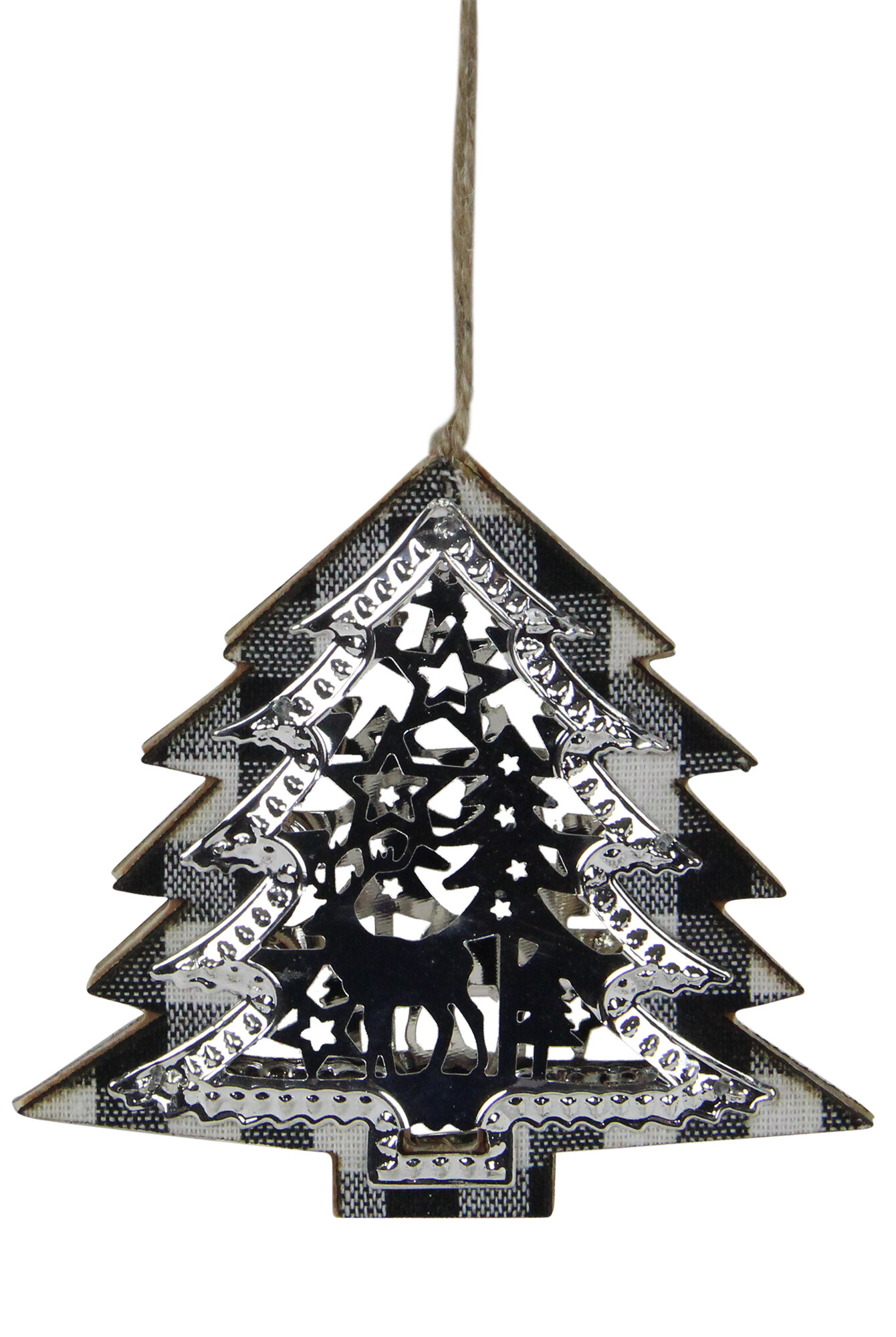 Northlight 4 25 Black And White Buffalo Plaid Christmas Tree Shaped Reindeer Ornament Wayfair