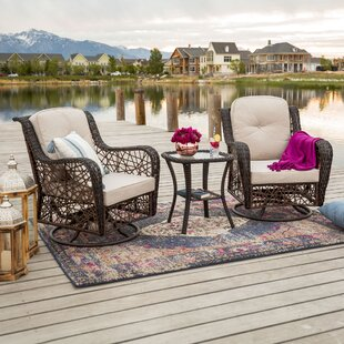 Rockland 3 Piece Swivel Patio Chair with Cushions Set