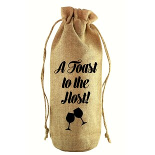 A Toast to the Host Jute Wine Bottle Sack