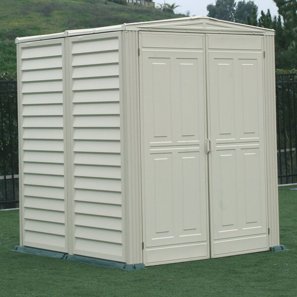 duramax yardmate vinyl shed 5 ft 6 in w x 5 ft 6 in d plastic storage shed reviews wayfair