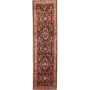 One-of-a-Kind Gandy Lilian Hamedan Vintage Traditional Persian Hand-Knotted Runner 3'5 x 13'3 Wool Beige/Black Area Rug Isabelline