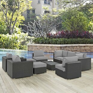 Leda 10 Piece Rattan Sunbrella Sectional Seating Group with Cushions