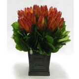 Protea Floral Centerpiece Wooden Mini Square Planter with Inset