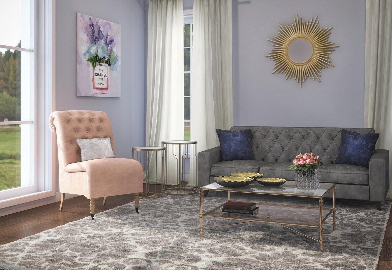 lark manor legault roll back tufted slipper chair & reviews | wayfair