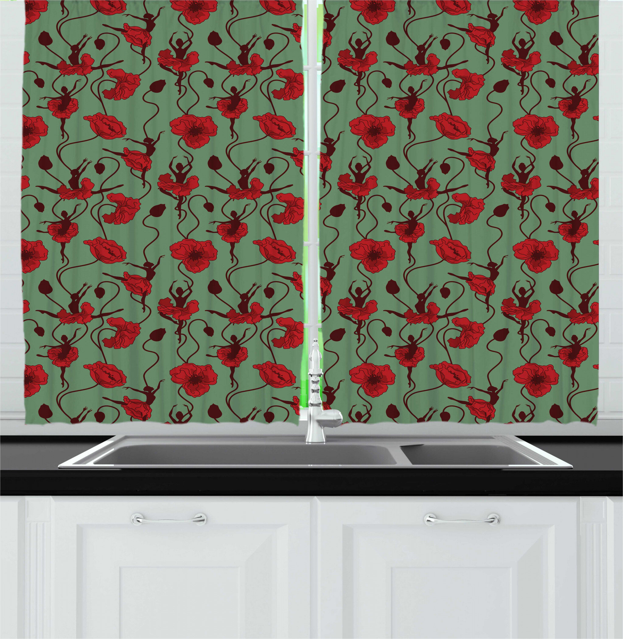 East Urban Home Poppy Kitchen Curtain Wayfair