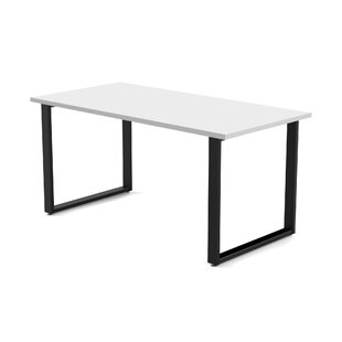 Wickstrom 60 Wide Desk, Designer White Laminate Silver Finish