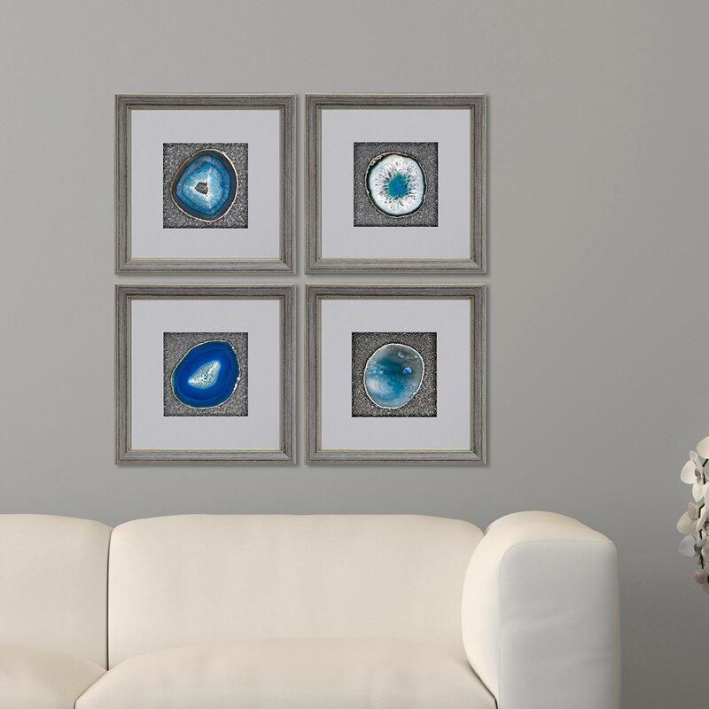 beautiful framed agate slice wall decor agate slice geode.htm mercer41  teal agate  by peak 4 piece picture frame graphic art  mercer41  teal agate  by peak 4 piece