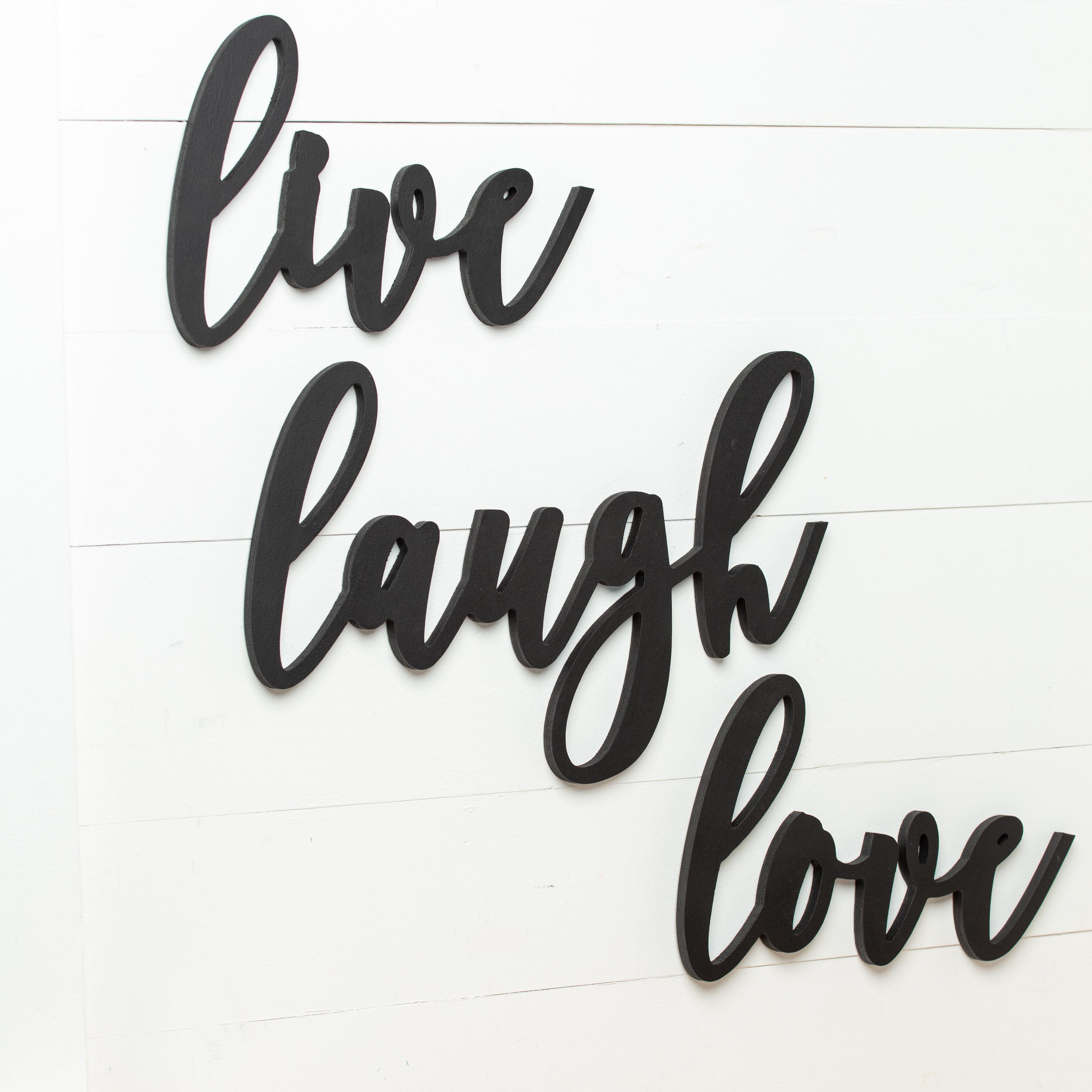 3pcs Wooden Sign Decor LAUGH LIVE LOVE Wall Door Decoration Home Decor